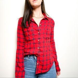 Hollister Red Plaid Button Up Long Sleeve shirt